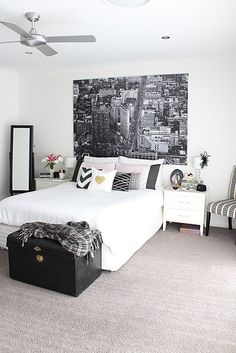 I love monochrome interiors and I've using black and white as the base for mine and hubby's bedroom for a while now. Black and white is easy to work with as long as you vary the tones and textures so it doesn't look too stark. Black and white also works well if you have males….