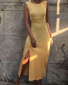 Canary Yellow Dress w/ Slit — Elia Vintage Mode Outfits, Fashion Outfits, Womens Fashion, Canary Yellow Dress, Vetement Fashion, Mode Inspiration, Look Fashion, Aesthetic Clothes, Dress To Impress