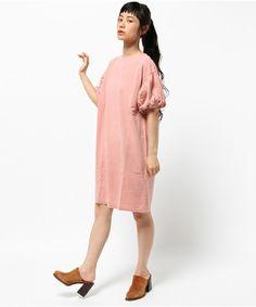 CHILD WOMAN(チャイルドウーマン)の30/-MUS天竺 ピグメント バイオ加工 ボリューム袖ワンピース(ワンピース) ピンク