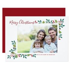 Holiday Blooms Merry Christmas Photo Greeting Card - photo gifts cyo photos personalize