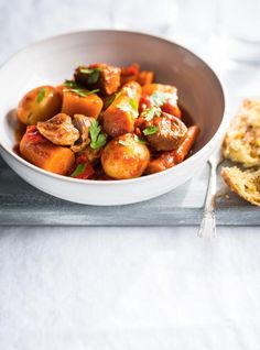 Pressure-Cooker Pork Stew with Fall Vegetables no rutabaga, used parsnip. Okay but too tomatoey and little other flavors. Pork Recipes, Chicken Recipes, Cooking Recipes, New Pressure Cooker, Pressure Cooking, Ricardo Recipe, Pork Salad, Confort Food, Pork Stew