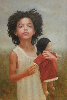 """Afri and Doll"", oil"