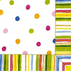 IHR Smart Dots White Polka Dot Striped Printed 3-Ply Paper Luncheon Napkins Wholesale L392890