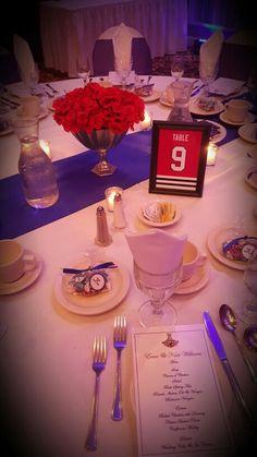 Table decoration for hockey themed wedding keywords weddings chicago blackhawks theme wedding junglespirit Images