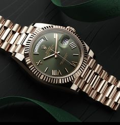 The Rolex Day-Date 40 in solid 18ct Everose gold with a green dial marks the 60th anniversary of this most prestigious Rolex model.