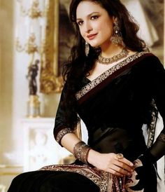 #indiangoddess #indian black saree, loving the long sleeve blouse Indian Wedding Dresses - http://www.kangabulletin.com/online-shopping-in-australia/bollywood-fashion-australia-discover-a-striking-collection-of-indian-clothes/ #bollywood #fashion #australia #sale indian fashion jewelry and online saree shopping