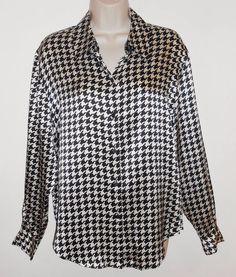Style & Co 100% Silk 8 M Houndstooth Blouse Black White NEW NWT Career Shirt #Houndstooth #Blouse #Silk #Career #Black&White