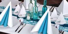 Tischdekoration zur Kommunion / Konfirmation in Türkis und Mint mit Schiffen
