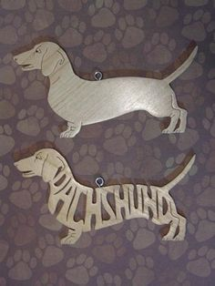 Pair Of Dachshund Decoration Ornament Scroll Saw Wood Cut Out
