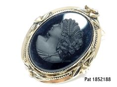 Victorian Vermille Mourning Cameo Black /& White Molded Glass in Sterling Link Bracelet