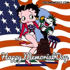 Happy Memorial Day ~ For more Betty Boop graphics & greetings: http://bettybooppicturesarchive.blogspot.com/ ~And on Facebook~ https://www.facebook.com/bettybooppictures ~ Betty Boop in a stars and stripes outfit with Bimbo dressed as the Statue of Liberty in front of the US flag