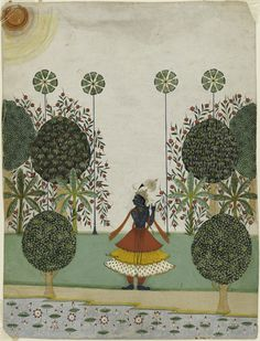 Krishna Fluting in the Forest, India, Rajasthan, ca.1720-40. Miniature http://www.invaluable.com/auction-lot/krishna-fluting-in-the-forest,-rajasthan,-jaipur,-48-c-5a25232222