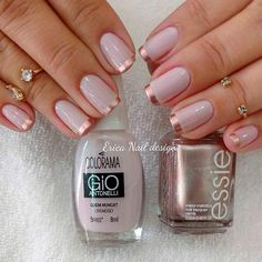 21 Prettiest Rose Gold Nails Designs You Should Try Out  Rose Gold French Tips picture 2 The popularity of rose gold nails is only getting stronger. We suggest you add some sparkle to your everyday life or dim the gorgeous shine with something simple and elegant for once! naildesignsjourna... #nails #nailart #naildesign #rosegoldnails