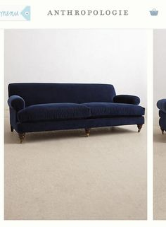 Like New Ink Blue Velvet Couch From Anthropologie in Clinton Hill, Kings County on Krrb!