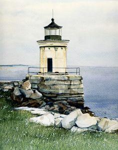 Thomas Needham watercolor lighthouse