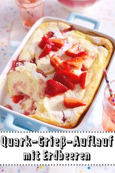 Quark semolina casserole with strawberries recipe DELICIOUS - This sweet one is a real soul-flatterer. Quark, and fresh # Strawberries ensur - Best Pancake Recipe Fluffy, Pancake Recipe With Yogurt, Greek Yogurt Pancakes, Clean Eating Pancakes, Baking Recipes, Dessert Recipes, Pancake Recipes, Drink Recipes, Cookie Recipes