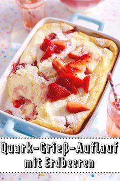 Dieser süße #Auflauf ist ein echter Seelenschmeichler. Quark, #Grieß und frische #Erdbeeren sorgen dafür, dass wir uns schnell wieder wohlfühlen.