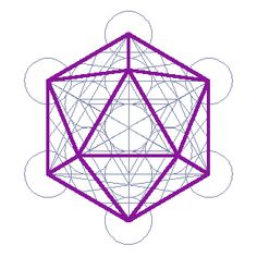 A 2D view of the 3D Metatron's cube highlighting the Icosahedron, a 3D platonic solid with 20 triangular faces an 12 points. Here two of its top five and 3 of its bottom five triangles can be seen. 5 of its 10 triangles are seen around its middle.