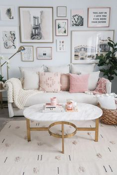 Living Room of MoneyCanBuyLipstick.com, Gallery Wall, Coffee Table Styling, Anthropologie Home, Urban Outfitters Home, Cozy Neutral and Blush Living Room - Money Can Buy Lipstick #livingroomlayout
