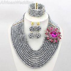 Silver African Nigerian Beaded Jewelry Set,African Nigerian Beaded Necklace,Crystal Beads Necklace,African Beaded Necklace