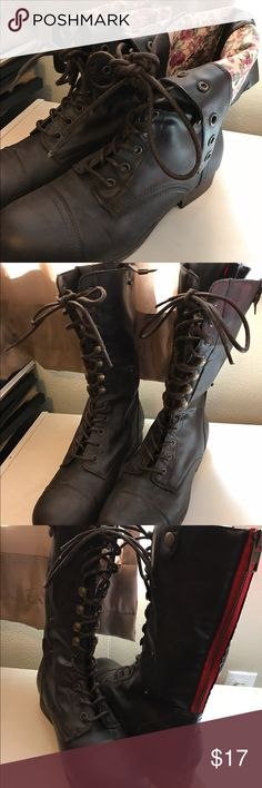 Combat Boots As seen in the cover photo they have the option to fold over and show of the floral design inside. Or they make a cute pair of plain brown boots if you don't like the floral! Only worn once for my senior pictures. Shoes Lace Up Boots