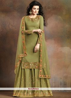 Buy latest Olive Green Soft Silk Wedding Dress Sharara Suit with Net dupatta can customise upto inches at best price. Indian Fashion Dresses, Indian Designer Outfits, Indian Outfits, Designer Dresses, Designer Wear, Indian Attire, Indian Clothes, Emo Outfits, Indian Wear