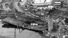 Westgate bridge disaster An aerial view of the fallen span, cracked down the middle. Australia Day, Victoria Australia, Melbourne Australia, Places In Melbourne, Australian Continent, Melbourne Victoria, History Projects, Largest Countries, Aerial View