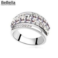 Round Crystal Wedding Bands Finger Ring Made With Swarovski Elements