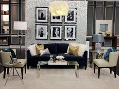 Fun, Girly Living Room - love the art work - black and white photos of Audrey, Marilyn, etc