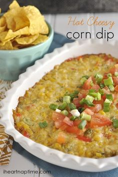 Hot Cheesy Corn Dip - perfect last minute appetizer for New Years Eve!