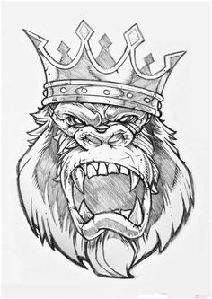 Tattoo Design Drawings, Cool Art Drawings, Tattoo Sketches, Art Sketches, King Tattoos, Body Art Tattoos, Crown Tattoos, Animal Sketches, Animal Drawings