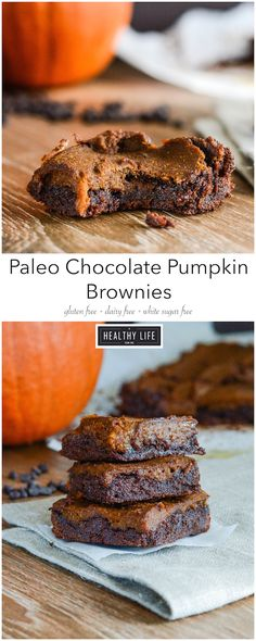 These Paleo Chocolate Pumpkin Brownies {gluten free dairy free} are the chewiet moistest fudgy chocolate pumpkin flavored brownies ever. Chocolate base with a pumpkin pie like topping make each bite a bit of a delight. Patisserie Sans Gluten, Dessert Sans Gluten, Paleo Dessert, Gluten Free Desserts, Dairy Free Recipes, Real Food Recipes, Dessert Recipes, Yummy Food, Brownie Recipes