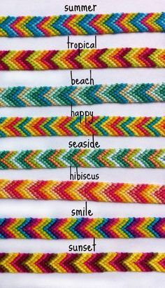 Colorful Chevron Friendship Bracelets (limited time) Rainbow Ombre Chevron Friendship BraceletsSummer is the perfect time to wear colorful clothes…Summer Bracelets / Beaded Bracelets with Words / DIY…Chevron bracelet. Diy Bracelets Easy, Thread Bracelets, Summer Bracelets, Bracelet Crafts, Beaded Bracelets, String Bracelets, Homemade Bracelets, Colorful Bracelets, Ankle Bracelets