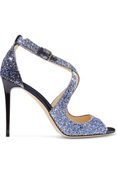 Jimmy Choo - Emily Glittered Leather Sandals - Blue - IT35