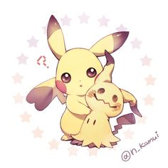 Pikachu and Mimikyu Pokemon Go, First Pokemon, Pokemon Fan Art, Cool Pokemon, Pichu Pikachu Raichu, Cute Pikachu, Pokemon Original, Chibi, Pokemon Tattoo