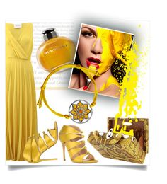 """yellow expression"" by ledile ❤ liked on Polyvore featuring Cédric Charlier, Burberry, Gianvito Rossi, Bertoni, yellow, charms, mandala, ledile and charmsbracelets"