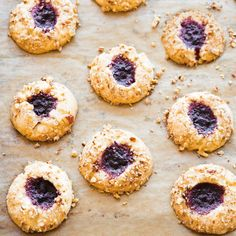 Blackberry-Pecan Thumbprints | Williams-Sonoma- excellent; very buttery dough, light