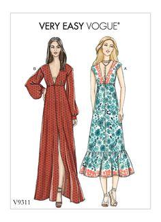 b265e300f6 patron robe décolleté V facile été V9311 Vogue Sewing Patterns