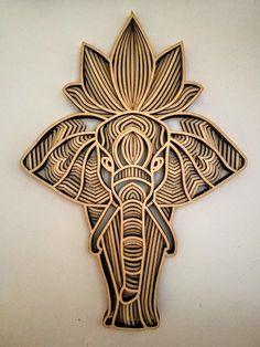 Laser Art, 3d Laser, Laser Cut Wood, Laser Cutting, Mandala Elephant, Elephant Wall Art, Wooden Wall Art, Diy Wall Art, Styrofoam Art