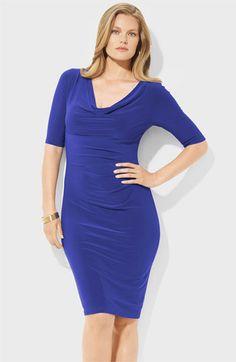 Lauren Ralph Lauren Cowl Neck Jersey Sheath Dress (Plus) available at #Nordstrom