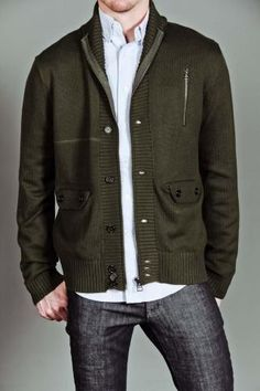 MG Black Label Shawl Collar Cardigan with Gun Flap Seam and Button & Zipper Closure Forest Green