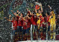 Spain celebrate UEFA Euro 2012 victory