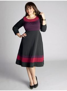 Nice dress for work. Plus Size Nellie Colorblock Dress in Berry.