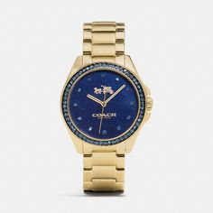 Coach Tristen 36mm Gold Car Paint Dial Bracelet Watch ($295) ❤ liked on Polyvore featuring jewelry, watches, blue, gold bracelet watch, gold watches, coach watches, gold wrist watch and blue gold jewelry