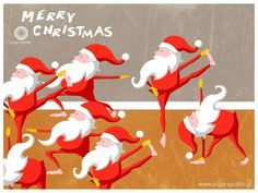 Christmas Yoga at Yoga Republic, Santa Claudia Yoga, Yoga Cartoon