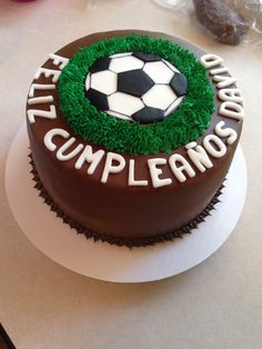 Soccer ball birthday cake You are in the right place about Soccer Cake homemade Here we offer you th Football Birthday Cake, 15th Birthday Cakes, Soccer Birthday Parties, Cupcakes, Cupcake Cakes, Soccer Ball Cake, Fathers Day Cake, Sweet Bakery, Drip Cakes