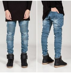 Biker Fit Washed Denim Jeans