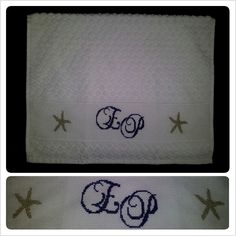 An elegant wedding gift in nautical style, great for summer season! - Cross stitch hand towel 100% cotton - All designs are customized as per customer request - jymcreations@gmail.com. #Handmade #Crossstitch #Crafts #Handtowel #Summer