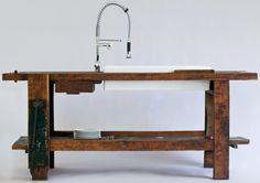 industrial bench kitchen sink