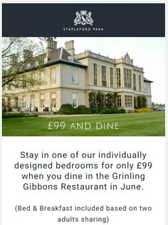 £99 and Dine (offer available in June only)